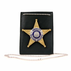 Boston Leather® Neck Chain ID and Badge Holder