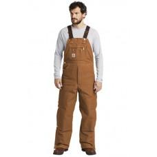 Carhartt ® Duck Quilt-Lined Zip-To-Thigh Bib Overalls