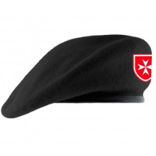 TSR® Military Beret (with Leather Sweatband - Lined) (Order of Malta Patch)